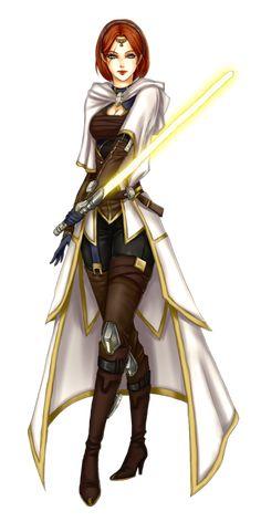 Woman Jedi Academic / Jedi Scholar.  The Jedi Academics or Scholars would traditionally use Sun-Yellow Lightsabers.