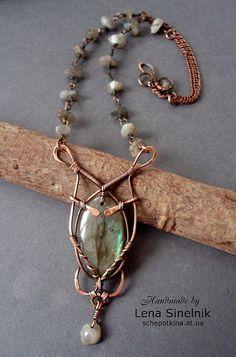 """Idea: ornate wire wrap w stone - """"Пришелец"""" by Schepotkina, via Flickr"""