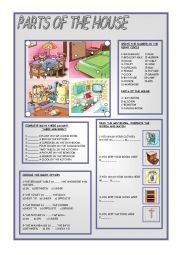 PARTS OF THE HOUSE worksheets for ESL/ELL