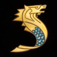 David Andersen Seahorse Hippocampus Brooch Pin Pendant Sterling Silver Enamel Vintage Norway