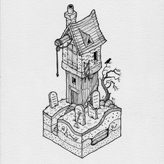 "2,748 Likes, 5 Comments - @thisnorthernboy on Instagram: ""Another spooky little commission… #isometric #illustration #drawing"""