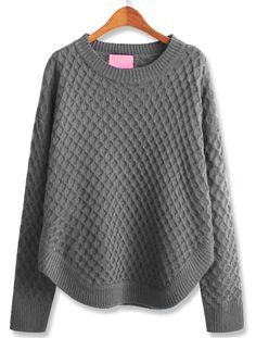 Grey Long Sleeve Diamond Patterned Loose Sweater - Sheinside.com