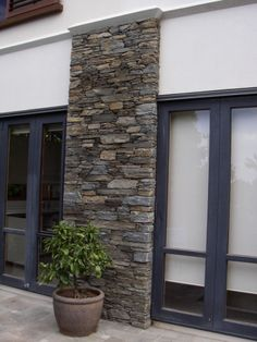 Like the door frame colour House Designs Exterior, External Wall Cladding, Beach House Exterior, Stone Cladding Exterior, Brick And Stone, Home Landscaping, Exterior Stone, Stone Feature, Stone Houses