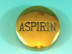Solid Brass ASPIRIN Screw Top Container