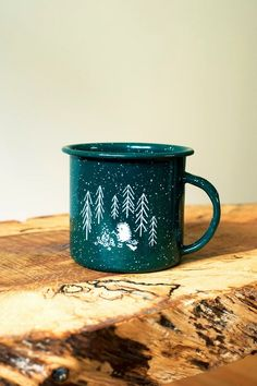 Forest and Waves - Green Camper Mug