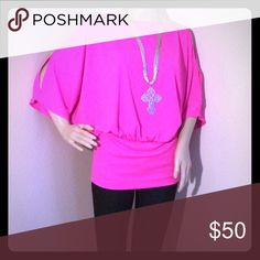 "Rachel Roy Hot Pink ""Disco"" Cold Shoulder Top NWT top by Rachel Roy. Color on tag is ""watermelon"" 100% polyester TTS medium Rachel Roy Tops Blouses"