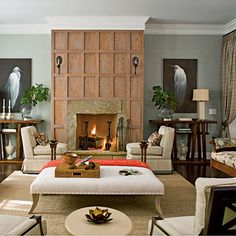 Lovely wood panelling at the fireplace...gives a cosy feel to this room