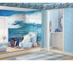 Surf's Up Ocean wall mural http://www.muralsforkids.com/products/Ocean-Wave-Large-Mural.html