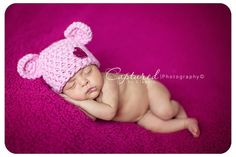 Pink Newborn Teddy Bear Hat by BeautifulPhotoProps on Etsy, $26.00 (I just like the pose...and the colors!)