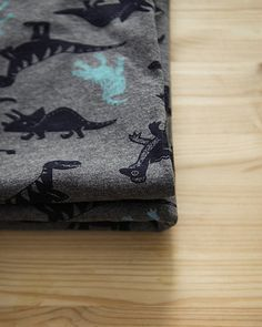 Dinosaurs Fabric Cotton Rib Knit Fabric Stretchy by landofoh