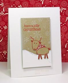 Red, White and Kraft Christmas card