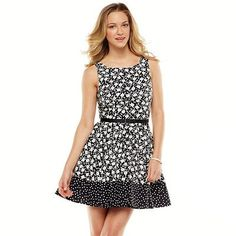 LC Lauren Conrad Floral Polka Dot Pleated Fit and Flare Dress