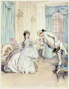 'There - my note of hand will do as well' Hugh Thomson illustration for 'School for Scandal' by Richard Brinsley Sheridan. Ink Illustrations, Illustration Art, Regency Era, Rococo, Baroque, Portrait Art, Portraits, Fashion Prints, Women's Fashion