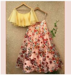 Floral lehenga - Reference floral Lehenga To purchase mail us at com or Whatsapp us on bridesmaids bridaljewellery… Indian Fashion Dresses, Indian Gowns Dresses, Dress Indian Style, Indian Designer Outfits, Designer Dresses, Fashion Outfits, Eid Outfits, Eid Dresses, Designer Blouses For Lehenga
