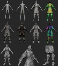 http://www.zbrushcentral.com - walkthrough of entire modelling process including weapons, cloth patterns, and maps