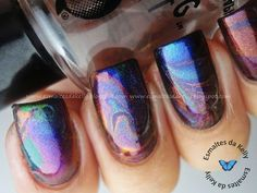 Oil slick...water marble with metallics