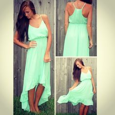 Kate High-Low Dress in mint from Monica's Closet Essentials