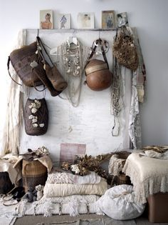 I have a wall in my home where every thing hangs...it goes against my industrial leanings. In reality I have an old Victorian home that I adore. so this wall just fits my boho self :)