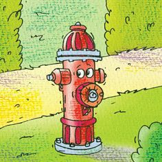 """The fire hydrant hopes that no male dogs come near him today.  From:  """"The Little Lost Truck"""""""
