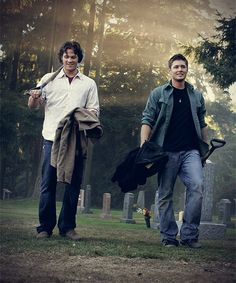 Supernatural smiles - but if this is the episode I think it is (Children Shouldn't Play with Dead Things) Jared actually has a broken wrist during this scene but couldn't cast it yet because it had to be worked into the story. YET HE CAN STILL SMILE LIKE THAT!!!