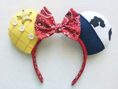 Howdy, partner! The other toys in Andys room will sure be jealous when they see you with these little beauties. This listing is for one (1) pair of Toy Story Sheriff Woody inspired Mickey Mouse ears. These ears are Made to Order; please see my shipping rates & policies for current turnaround rate and shipping information.  *About These Little Beauties*  All of my products are sewn together with love and pixie dust. This headbands thickness is 3/4, and fits most adult and child head sizes…