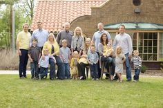Yellows and blues for family photo, large group