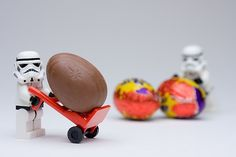 Storm troopers helping with the Easter delivery.