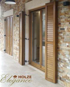 Wooden Shutters, Wooden Windows, Windows And Doors, Front Door Design, Window Design, Shutter Doors, Design Case, Balcony Garden, Wood Doors