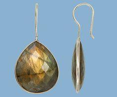 Sterling Silver Bezelled Earrings Labradorite Pear 24x20mm