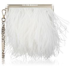 White Ostrich Feathers and Silver Metal Box Clutch Bag BOX CRUISE 16 ($3,250) ❤ liked on Polyvore featuring bags, handbags, clutches, bolsas, jimmy choo handbag, white handbags, hard clutch, box clutch and jimmy choo purses
