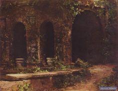 Grotte im Park der Villa d'Este bei Rom (Carl Blechen) Carl Blechen, Villa, Park, Artist, Painting, Cave, Artists, Painting Art, Parks