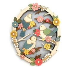Birds In Springtime Wooden Wall Art (2.155.860 VND) ❤ liked on Polyvore featuring home, home decor, wall art, flower stem, branch home decor, wood wall art, wooden home accessories and wooden home decor