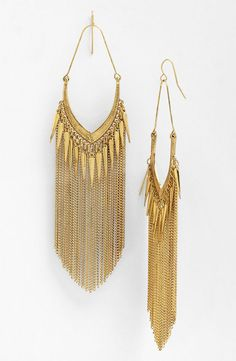 ... for $34 on www.bebe.com; Stephan & Co. fringe earrings for $14 on www.nordstrom.com; Mesh & crystal fringe statement necklace for $49 on www.bebe.com.