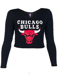 8bf88ae1094032 NBA 4 HER Chicago Bulls fitted crop top Stretch fabric for comfort  Basketball Long sleeves Boat neck style CHICAGO BULLS logo on front Solid  black back