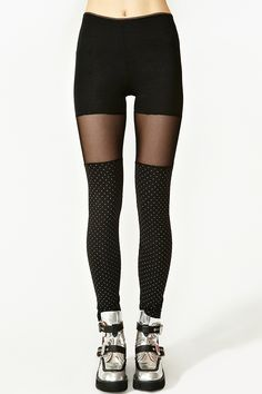 Is it thigh highs? Is it pantyhose? It is leggings? It's all of those and it's awesome. -G* - Spotted Mesh Leggings via @NASTY GAL
