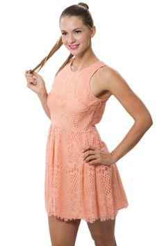 Peach Chantilly Lace Dress