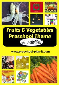 Fruits and Vegetables Preschool Theme!  So many activities so little time!  How about taste testing, comparing foods by sight and feel, and math games for starters?  You'll find over 30 activities here for your preschool planning