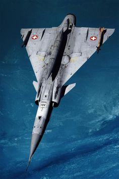 Swiss SAAB Fighter Jet - Photo: K. Tokunaga © @ tonygqusa I follow back.