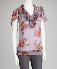 Take+a+look+at+the+Brown+&+Orange+Ruffle+Angel-Sleeve+Top+on+#zulily+today!