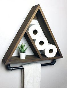 Triangle Bathroom Shelf with Industrial Farmhouse Towel Bar,.- Triangle Bathroom Shelf with Industrial Farmhouse Towel Bar, Geometric Country Rustic Storage, Modern Farmhouse, Apartment Dorm Decor - Dorms Decor, Dorm Decorations, Decor Room, Room Art, Art Decor, Industrial Farmhouse, Farmhouse Decor, Modern Farmhouse, Country Decor