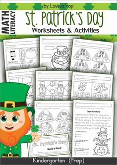 Patrick's Day Math & Literacy Worksheets & Activities No Prep *** US and Australian spelling included *** St Patrick Day Activities, Spring Activities, Holiday Activities, Literacy Worksheets, Math Literacy, Kindergarten Activities, Classroom Activities, Kindergarten Reading, Kindergarten Classroom