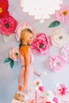 pink, white, blush tissue paper wall flowers, lovely for dinner parties, baby showers, bridal showers, birthdays and weddings  | lovelyfest event design