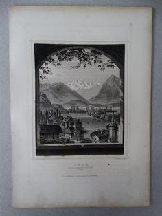 Thun Kirchhof Bern Schweiz Ansicht Landschaft - Poppel Rohbock - Stahlstich 1861