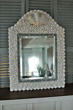 Turquoise and White Shell Mirror by MyGreenGazebo on Etsy, $675.00