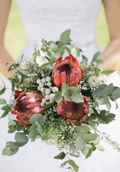 17 Bold and Beautiful Wedding Bouquets featuring Protea - Mon Cheri Bridals