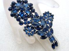 High End Sapphire Blue Rhinestone Prong Set Rhinestone Vintage Flower Brooch Pin | eBay