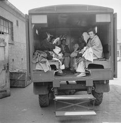 THE LIBERATION OF BERGEN-BELSEN CONCENTRATION CAMP, MAY 1945. Former women inmates seated in a lorry which will take them to their accommodation in Hohne Military Barracks.