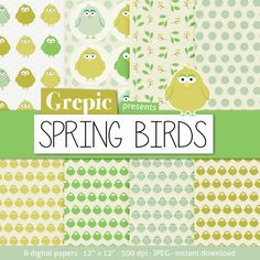 8 digital papers Spring birds with happy spring patterns by Grepic #scrapbook #spring #green #bird #download #paper