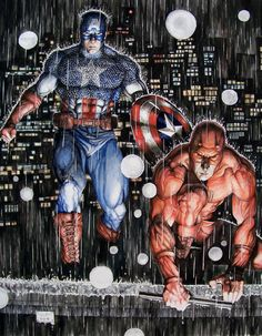 Daredevil and Captain America  Comic Art - Artist: Eric Meador