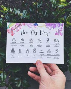 Custom Wedding Program Timeline Cards. Available at Boardman Printing.